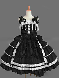 cheap -Princess Gothic Lolita Punk Dress JSK / Jumper Skirt Women's Girls' Cotton Japanese Cosplay Costumes Plus Size Customized Black Ball Gown Vintage Cap Sleeve Sleeveless Short / Mini