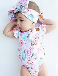 cheap -Baby Girls' Floral Fashion / Vintage Print Sleeveless Cotton Bodysuit White / Toddler
