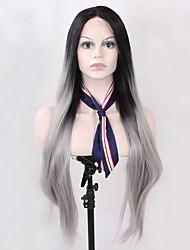 Недорогие -Синтетические кружевные передние парики Прямой Прямой силуэт Лента спереди Парик Длинные Серый Черный Искусственные волосы Жен. Волосы с окрашиванием омбре Природные волосы Черный Серый