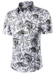 cheap -Men's Plus Size Paisley Print Shirt Daily Work White / Blue / Yellow / Fuchsia / Gold / Royal Blue / Navy Blue / Beige / Summer / Fall / Short Sleeve