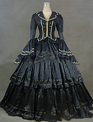 cheap -Rococo Victorian 18th Century Dress Party Costume Masquerade Women's Satin Costume Blue Vintage Cosplay Party Prom Long Sleeve Floor Length Plus Size Customized