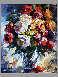 cheap -Hand-Painted Floral/Botanical Vertical Panoramic,Modern/Contemporary One Panel Canvas Oil Painting For Home Decoration