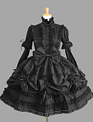 cheap -Princess Gothic Lolita Classic Lolita Punk Dress Women's Girls' Cotton Japanese Cosplay Costumes Plus Size Customized Black Ball Gown Solid Color Fashion Vintage Cap Sleeve Short Sleeve Short / Mini
