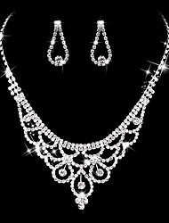 cheap -Women's AAA Cubic Zirconia Drop Earrings Choker Necklace Bridal Jewelry Sets Luxury Vintage Elegant Cubic Zirconia Silver Earrings Jewelry Silver For Wedding Party Anniversary Engagement Valentine's