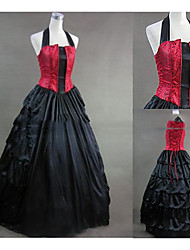 cheap -Gothic Victorian Medieval 18th Century Dress Party Costume Masquerade Women's Satin Costume Black Vintage Cosplay Party Prom Sleeveless Floor Length Plus Size Customized