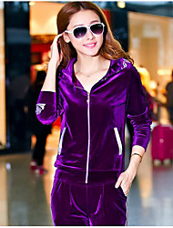 cheap -Women's Streetwear Velour Tracksuit Winter High Rise Yoga Running Exercise & Fitness Sportswear Plus Size Fitness, Running & Yoga Warm Clothing Suit Long Sleeve Activewear Inelastic / Cotton / Velvet