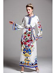 cheap -Women's Floral Party / Daily / Going out Maxi Jalabiya Dress Print Spring White M L XL