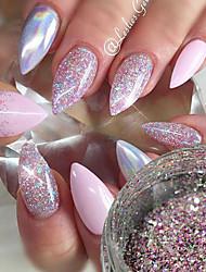 Недорогие -1шт Пайетки / Порошок блеска / Гель для ногтей Элегантный и роскошный / Блеск и сияние Дизайн ногтей