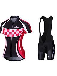 cheap -Malciklo Women's Short Sleeve Cycling Jersey with Bib Shorts Black Plaid / Checkered Bike Jersey Bib Tights Padded Shorts / Chamois Breathable Quick Dry Anatomic Design Reflective Strips Back Pocket