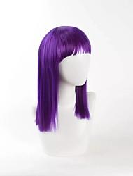 cheap -new dark purple cosplay wig straight high temperature heat resistant popular style Halloween