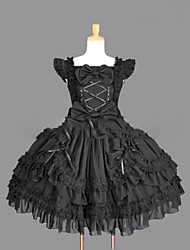cheap -Princess Gothic Lolita Punk Summer Dress Women's Girls' Lace Cotton Japanese Cosplay Costumes Plus Size Customized Black Ball Gown Vintage Cap Sleeve Sleeveless Short / Mini / Gothic Lolita Dress