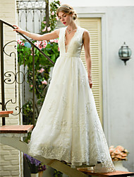 cheap -A-Line Wedding Dresses Plunging Neck Sweep / Brush Train Lace Over Tulle Sleeveless See-Through Beautiful Back Illusion Detail with Sash / Ribbon Appliques 2021
