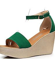 cheap -Women's Sandals Wedge Heel Peep Toe Suede Summer Black / Red / Green / Club Shoes
