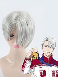cheap -high quality gray short hair yuri on ice cosplay wig victor nikiforov costume play woman adult wigs halloween anime game hair Halloween