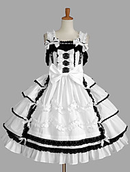 cheap -Princess Sweet Lolita Dress JSK / Jumper Skirt Women's Girls' Cotton Japanese Cosplay Costumes Plus Size Customized White Ball Gown Solid Color Fashion Vintage Cap Sleeve Sleeveless Short / Mini