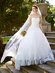 cheap -Ball Gown Strapless Floor Length Lace Over Tulle Strapless Vintage Inspired Made-To-Measure Wedding Dresses with Lace 2020
