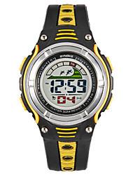 Недорогие -Муж. Модные часы Цифровой силиконовый Черный Цифровой Черный / Желтый Черный / Синий Оранжевый / черный