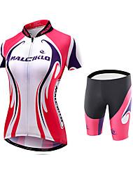 cheap -Malciklo Women's Cycling Jersey with Shorts Plus Size Bike Jersey Tights Padded Shorts / Chamois Sports Bamboo-carbon Fiber Coolmax® Elastane Patchwork Mountain Bike MTB Road Bike Cycling Clothing