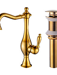 cheap -Kitchen faucet - Standard Gold Centerset Single Handle One HoleBath Taps