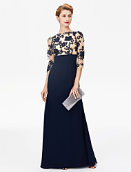 cheap -Sheath / Column Bateau Neck Floor Length Chiffon / Floral Lace 3/4 Length Sleeve Color Block / Beautiful Back Mother of the Bride Dress with Lace 2020