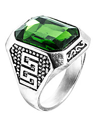 cheap -Men's Ring Signet Ring Synthetic Emerald Green Stainless Steel Zircon Emerald Unique Design Fashion Euramerican Wedding Special Occasion Jewelry Solitaire Emerald Cut High School Rings Class