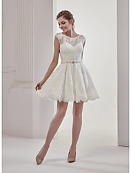 cheap -A-Line Bateau Neck Short / Mini Lace Cap Sleeve Little White Dress Made-To-Measure Wedding Dresses with Beading / Lace 2020