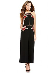 cheap -Women's Embroidery Floral Daily / Club Pants Halter Neck Black Wide Leg Jumpsuit Onesie, Hollow / Embroidered / Flower Backless / Cut Out / Embroidered S M L High Rise Sleeveless Summer