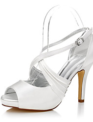 cheap -Women's Heels Dyeable Wedding Shoes Stiletto Heel Round Toe / Peep Toe Buckle Silk Summer / Fall Ivory / Club Shoes / Party & Evening