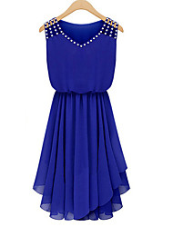 cheap -Women's Daily Going out Street chic Chiffon Dress - Solid Colored Blue V Neck Summer Black Royal Blue L XL XXL