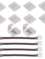 cheap -10PCS 4 Pin LED Strip Connector for 5050 RGB LED Strip Lights and  4PCS LED 5050 RGB Strip Light Connector 4 Conductor 10 mm Wide Strip to Strip Jump