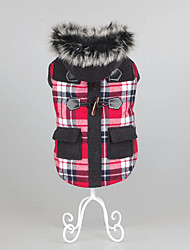 cheap -Dog Coat Winter Dog Clothes Warm Brown Red Costume Cotton Plaid / Check Casual / Daily Keep Warm