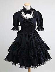 cheap -Princess Gothic Lolita Classic Lolita Punk Dress Women's Girls' Lace Japanese Cosplay Costumes Plus Size Customized Black Ball Gown Solid Color Short Sleeve Knee Length / Gothic Lolita Dress