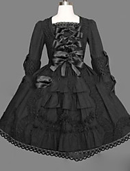 cheap -Princess Gothic Lolita Punk Dress Women's Girls' Japanese Cosplay Costumes Plus Size Customized Black Ball Gown Vintage Cap Sleeve Long Sleeve Short / Mini / Gothic Lolita Dress