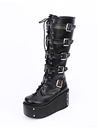 cheap -Men's Lolita Shoes Boots Classic Lolita Handmade Vintage Inspired Platform Lolita 10 cm Black PU Leather PU(Polyurethane) Halloween Costumes