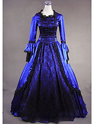 cheap -Gothic Victorian Medieval 18th Century Dress Party Costume Masquerade Women's Satin Costume Dark Blue Vintage Cosplay Party Prom Long Sleeve Floor Length Plus Size Customized
