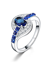 cheap -Women's Ring Sapphire Synthetic Diamond Silver Silver Plated Ladies Wedding Daily Jewelry Oval Cut Heart