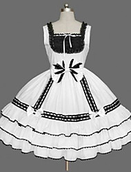 cheap -Princess Gothic Lolita Dress JSK / Jumper Skirt Women's Girls' Cotton Japanese Cosplay Costumes Plus Size Customized White Ball Gown Solid Color Fashion Vintage Cap Sleeve Sleeveless Short / Mini