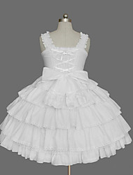 cheap -Princess Sweet Lolita Dress JSK / Jumper Skirt Women's Girls' Cotton Japanese Cosplay Costumes Plus Size Customized White Ball Gown Solid Color Fashion Cap Sleeve Sleeveless Short / Mini / Tuxedo