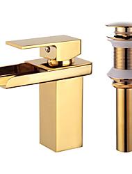 cheap -Bathroom Sink Faucet - Waterfall Gold Centerset Single Handle One HoleBath Taps