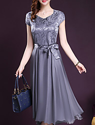 cheap -Women's Plus Size Wine Blue Dress Summer Going out Chiffon Swing Solid Colored V Neck Bow M L
