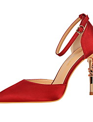 cheap -Women's Heels Stiletto Heel Pointed Toe Buckle Leatherette Comfort Spring / Fall Light Pink / Burgundy / Champagne / Dress / 3-4