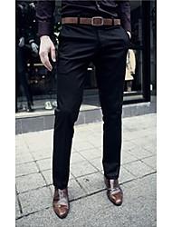 cheap -Men's Basic Plus Size Work Weekend Slim Suits / Slim / Business Pants - Solid Colored Pure Color Black Dark Gray Beige 32 33 28