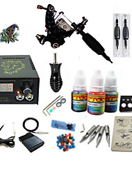 cheap -Tattoo Machine Starter Kit - 1 pcs Tattoo Machines with 1 x 5 ml tattoo inks LCD power supply Case Not Included 1 damascus steel machine liner & shader