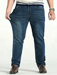 cheap -Men's Plus Size Daily Going out Straight / Loose / Jeans Pants - Solid Colored Cotton Blue 28 29 30