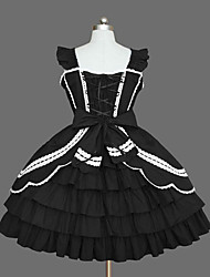 cheap -Princess Gothic Lolita Punk Dress JSK / Jumper Skirt Women's Girls' Cotton Japanese Cosplay Costumes Plus Size Customized Black Ball Gown Solid Color Fashion Vintage Cap Sleeve Sleeveless Short / Mini