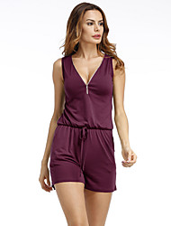 cheap -Women's Plus Size Holiday / Going out Active V Neck Black Purple Blue Romper Onesie, Solid Color S M L Sleeveless