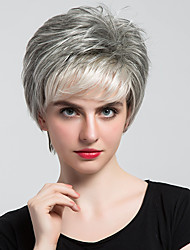 cheap -Human Hair Capless Wigs Human Hair Natural Wave Bob / Short Hairstyles 2019 / With Bangs Halle Berry Hairstyles Side Part Short Machine Made Wig Women's