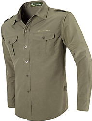 cheap -Men's Hiking Shirt / Button Down Shirts Long Sleeve Outdoor Cycling Quick Dry Multi Pocket Convert to Short Sleeves All Seasons Silk Khaki Gold / Brown Light Green Running