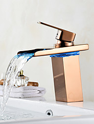 cheap -Centerset Waterfall LED indicator Rose Gold, Bathroom Sink Faucet