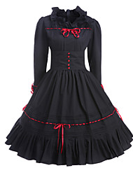 cheap -Gothic Lolita Vintage Inspired Dress Women's Girls' Cotton Party Prom Japanese Cosplay Costumes Plus Size Customized Black Ball Gown Vintage Long Sleeve Medium Length / Gothic Lolita Dress